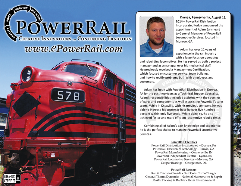 Congratulations to Adam Earnheart on his Promotion to GM of PowerRail Locomotive Services