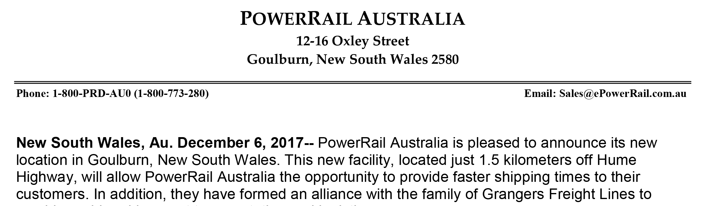 PowerRail Australia Moves to New Location